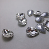 13x18mm Clear Glass Teardrop Pointback Chatons Rhinestones - 10pcs