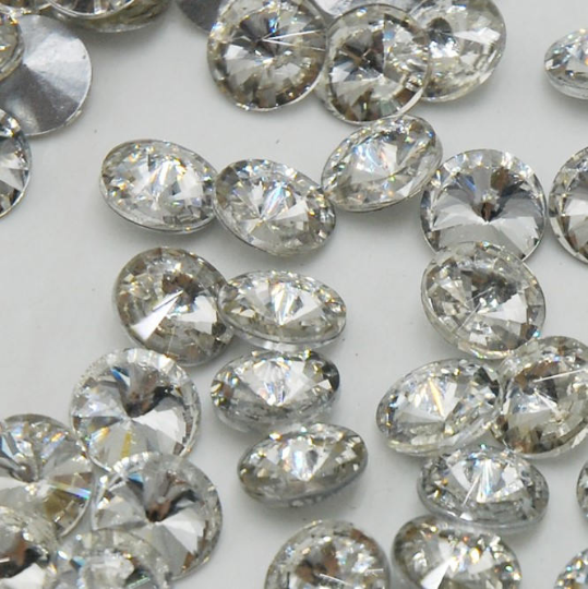 14mm Clear Glass Round Pointback Chatons Rhinestones - 10pcs