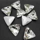 14mm Clear Glass Triangle Pointback Chatons Rhinestones - 10pcs