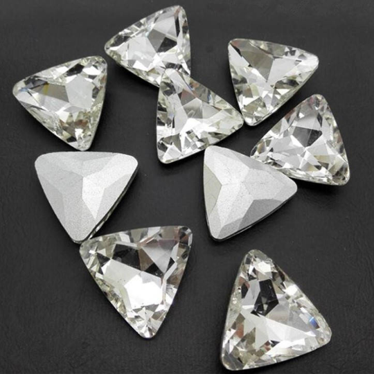 23mm Clear Glass Triangle Pointback Chatons Rhinestones -5pcs