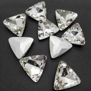16mm Clear Glass Triangle Pointback Chatons Rhinestones -10pcs