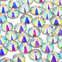 6mm Clear AB Resin Round Flat Back Loose Rhinestones