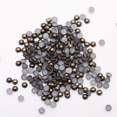 2mm Dark Coffee Resin Round Flat Back Loose Pearls - 10,000pcs