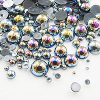 2-10mm Mixed Dark Gray AB Resin Round Flat Back Loose Pearls - 1000pcs