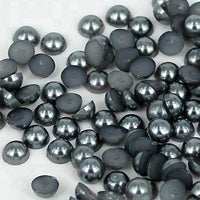 7mm Dark Gray Resin Round Flat Back Loose Pearls