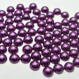 4mm Dark Purple Resin Round Flat Back Loose Pearls