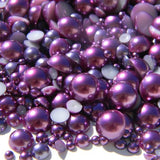 2-10mm Mixed Dark Purple Flatback Half Round Pearls - 30 grams / 500 pieces - Loose, Bling, Nail Art, Decoden TDK-P073 - TheDecoKraft