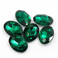 13x18mm Emerald Green Glass Oval Pointback Chatons Rhinestones - 10pcs