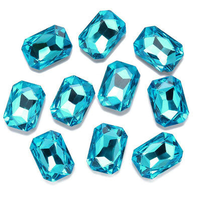 13x18mm Aqua Acrylic Emerald Pointback Chatons Rhinestones - 25pcs