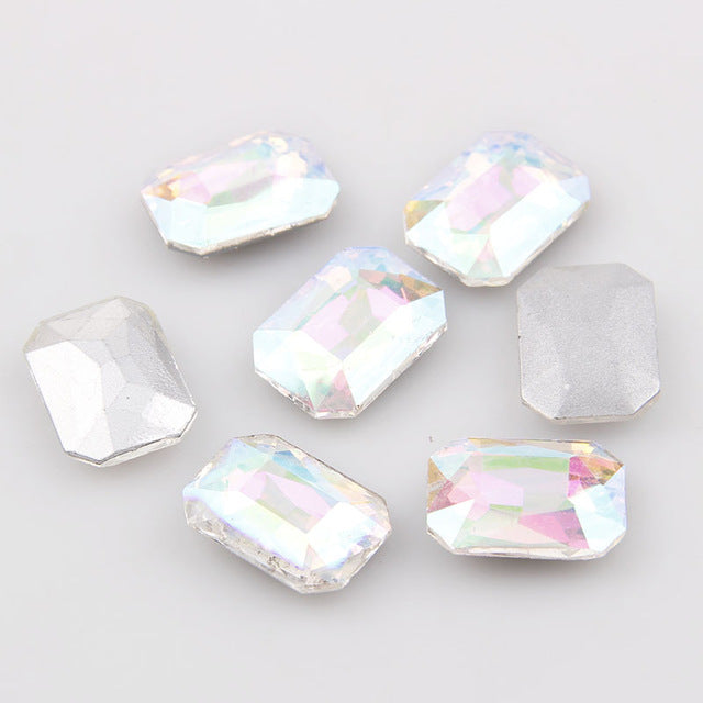 18x25mm Clear AB Glass Emerald Pointback Chatons Rhinestones - 5pcs