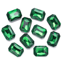 13x18mm Emerald Green Acrylic Emerald Pointback Chatons Rhinestones - 25pcs