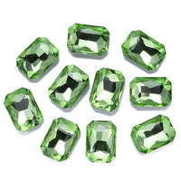 13x18mm Light Green Acrylic Emerald Pointback Chatons Rhinestones - 25pcs