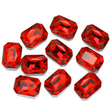 13x18mm Red Acrylic Emerald Pointback Chatons Rhinestones - 25pcs