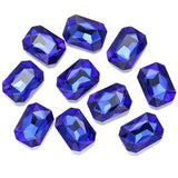 13x18mm Royal Blue Acrylic Emerald Pointback Chatons Rhinestones - 25pcs