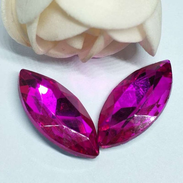 13x27mm Fuchsia Glass Marquis Pointback Chatons Rhinestones - 10pcs