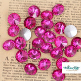 14mm Fuchsia Glass Round Pointback Chatons Rhinestones - 10pcs