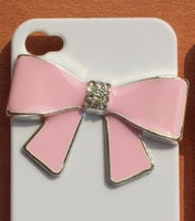 PINK Bow Silver Rhinestones Bling Cabochon Alloy Metal Decoden (TDK-B1053)