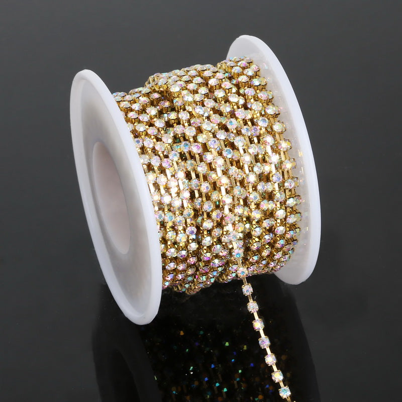 Clear AB Glass in Gold Setting Rhinestone Cup Chain - 10 Yards
