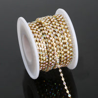 10 Yards Crystal AB Glass in GOLD Setting Rhinestone Cup Chain - 2mm/3mm/4mm