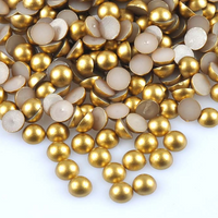 2-10mm Mixed Gold Matte Resin Round Flat Back Loose Pearls - 1000pcs