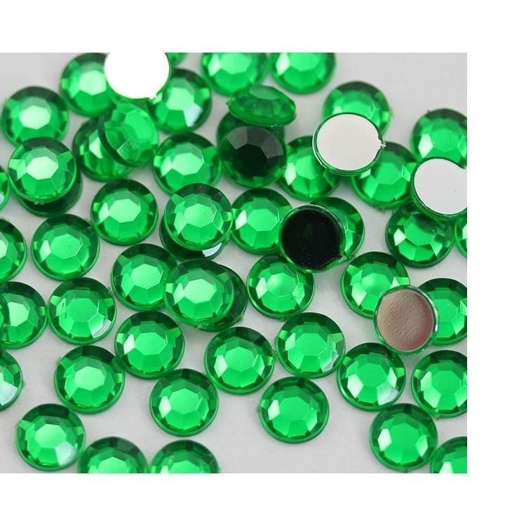 3mm Green Resin Round Flat Back Loose Rhinestones