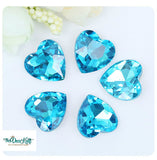 18x18mm Aqua Acrylic Heart Pointback Chatons Rhinestones - 25pcs