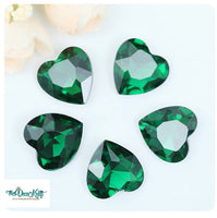 18x18mm Emerald Green Acrylic Heart Pointback Chatons Rhinestones - 25pcs