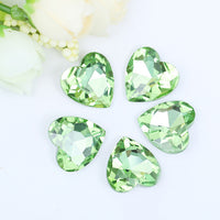 18x18mm Light Green Acrylic Heart Pointback Chatons Rhinestones - 25pcs