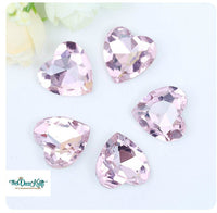 18x18mm Light Pink Acrylic Heart Pointback Chatons Rhinestones - 25pcs