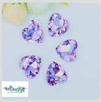 18x18mm Light Purple Acrylic Heart Pointback Chatons Rhinestones - 25pcs