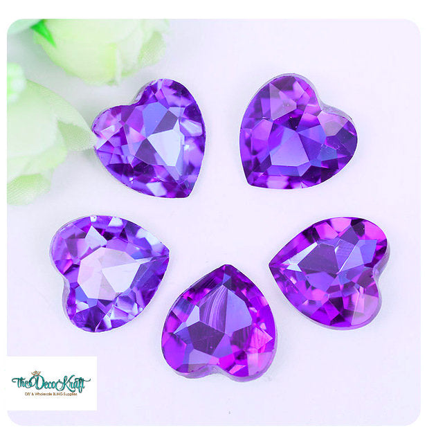 18x18mm Purple Acrylic Heart Pointback Chatons Rhinestones - 25pcs
