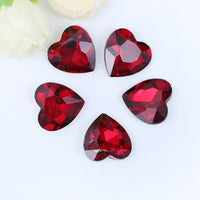18x18mm Red Acrylic Heart Pointback Chatons Rhinestones - 25pcs