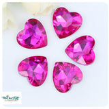 18x18mm Rose Acrylic Heart Pointback Chatons Rhinestones - 25pcs