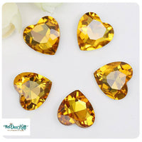 18x18mm Topaz Acrylic Heart Pointback Chatons Rhinestones - 25pcs
