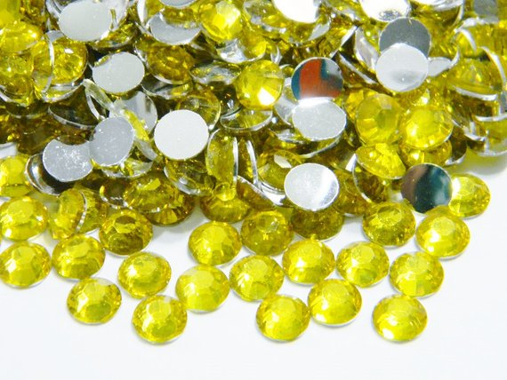 5mm Citrine Resin Round Flat Back Loose Rhinestones
