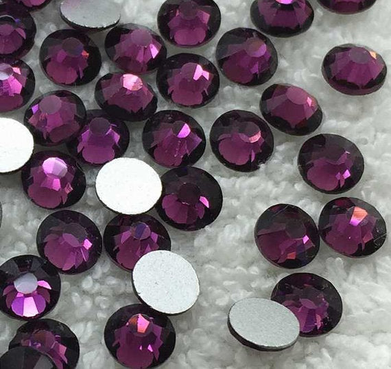 2mm Grape Purple Resin Round Flat Back Loose Rhinestones