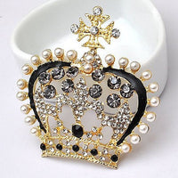 Crown Tiara Black Gold Pearls Rhinestones Bling Cabochon Alloy Metal Decoden TDK-B1045