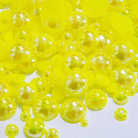 2-10mm Mixed Yellow AB Flatback Half Round Pearls - 30 grams / 500 pieces - Loose, Bling, Nail Art, Decoden TDK-P057 - TheDecoKraft