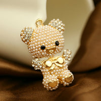 Teddy Bear Pearls and Rhinestones Gold Bling Cabochon Charm Alloy Metal Decoden (TDK-B1078)