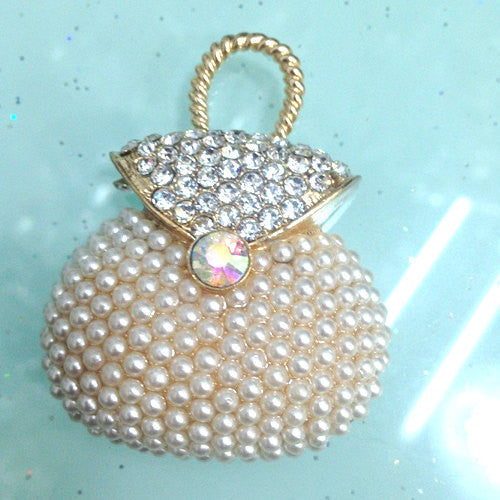 Pearl Handbag Purse Gold Rhinestones Bling Cabochon Alloy Metal Decoden DIY Phone Case Charm Kawaii