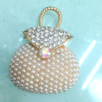Pearl Handbag Purse Gold Rhinestones Bling Cabochon Alloy Metal Decoden DIY Phone Case Charm Kawaii TDK-B1058