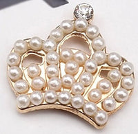 Crown Tiara Gold with Pearls and Rhinestone Bling Cabochon Alloy Metal Decoden (TDK-B1031)