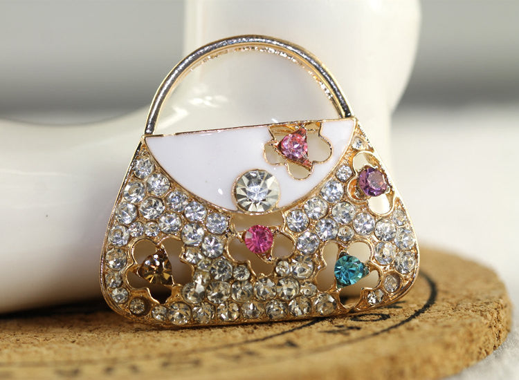 Multi-color Flower Rhinestone Purse Handbag Bling Cabochon Alloy Metal Decoden