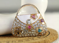 Multi-color Flower Rhinestone Purse Handbag Bling Cabochon Alloy Metal Decoden (TDK-B1026)