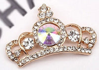 Crown Tiara Gold with Pink and Clear Rhinestones Bling Cabochon Alloy Metal Decoden (TDK-B1024)