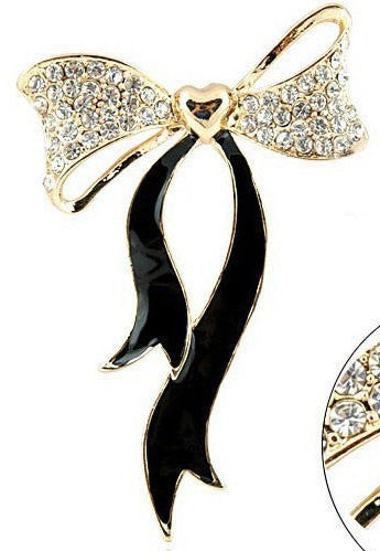 Black Crystal Gold Heart Bow Rhinestones Bling Cabochon Alloy Metal Decoden (TDK-B1073)
