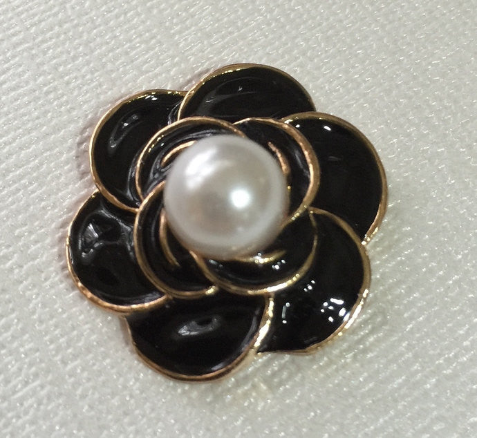Black Flower Pearl Gold Bling Cabochon Flatback Button No Shank Alloy Metal  Decoden Wedding Accessories