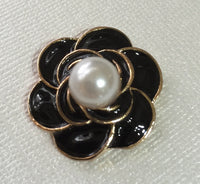 Black Flower Pearl Gold Bling Cabochon Flatback Button No Shank Alloy Metal Decoden Wedding Accessories TDK-B1048