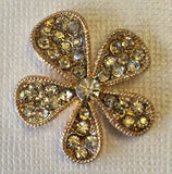 Gold & Crystal Flower Gold Pave Rhinestone Bling Cabochon Alloy Metal Decoden