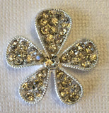 Silver & Crystal Flower Silver Pave Rhinestone Bling Cabochon Alloy Metal Decoden